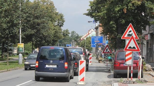 Uzavírka Kostelecké ulice v Prostějově. Ilustrační foto