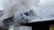 Požár dřevěné budovy na místním nádraží v Prostějově