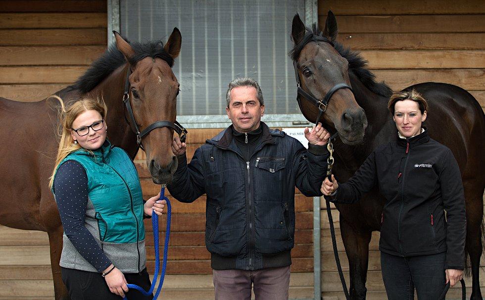 Koně trenéra Stanislava Popelky z Hvozdu u Prostějova se chystají na Velkou pardubickou.V levo Mahony, vpravo Stretton, uprostřed trenér Stanislav Popelka.