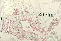 Obec Zdětín na katastrální mapě z roku 1834.