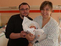 Karel Rozehnal s rodiči, Plumlov, narozen 1. února, 51 cm, 3400 g