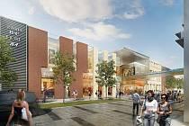 Podoba obchodního centra, které má vyrůst na místě Kaska, představená investorem (podklad říjen 2011)