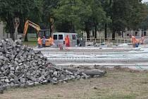 Stavba rondelu na Přikrylově náměstí v Prostějově