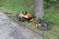 Těžká dopravní nehoda motorkáře mezi Určicemi a Prostějovem.