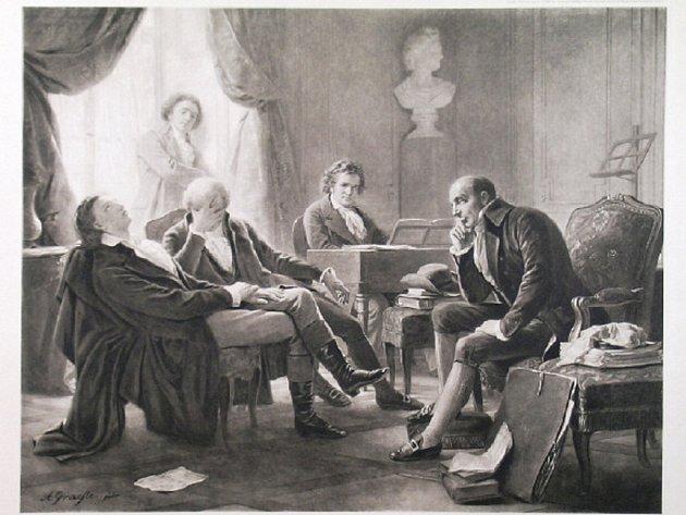 Beethoven sedí u klavíru, zatímco Anton Schindler (stojící v pozadí), Sigmund Anton Steiner Abbé Stadler a Gottfried van Swieten poslouchají pozorně hudbu. Podle obrazu Alberta Gräfle vytiskl Franz Hanfstaengl, Mnichov, cca 1892, heliogravura, 41×52 cm