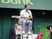 Závěrečný den prostějovského tenisové turnaje nabídl také exhibici zlatých olympioniků. Radek Štěpánek