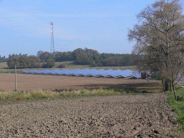 Solární panely u Prostějoviček