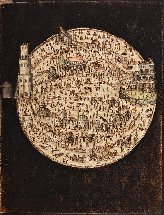 Jan Amos Komenský - Labyrint světa a Lusthauz srdce (Praha, Národní knihovna České republiky) - Město Labyrint, kolorovaná kresba rukopisu z roku 1623