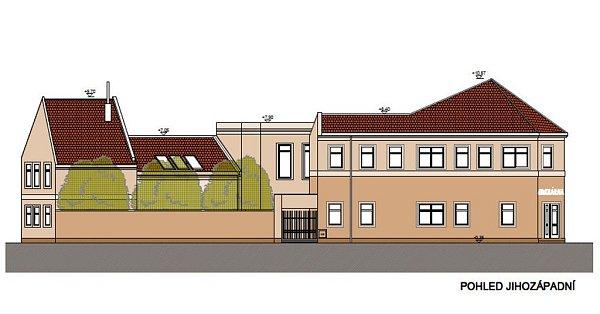 Vizualizace proměny rohové domu na ulici Jana Köhlera vchráněné bydlení a cukrárnu