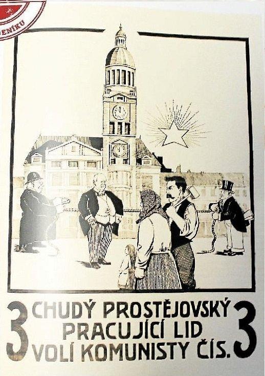 ČÍSLO 3. Volební plakát KSČ z roku 1924 v Prostějově.