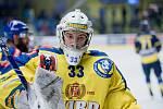 Hokejisté Přerova (ve žlutém) doma porazili Ústí nad Labem 5:2. Lukáš Klimeš