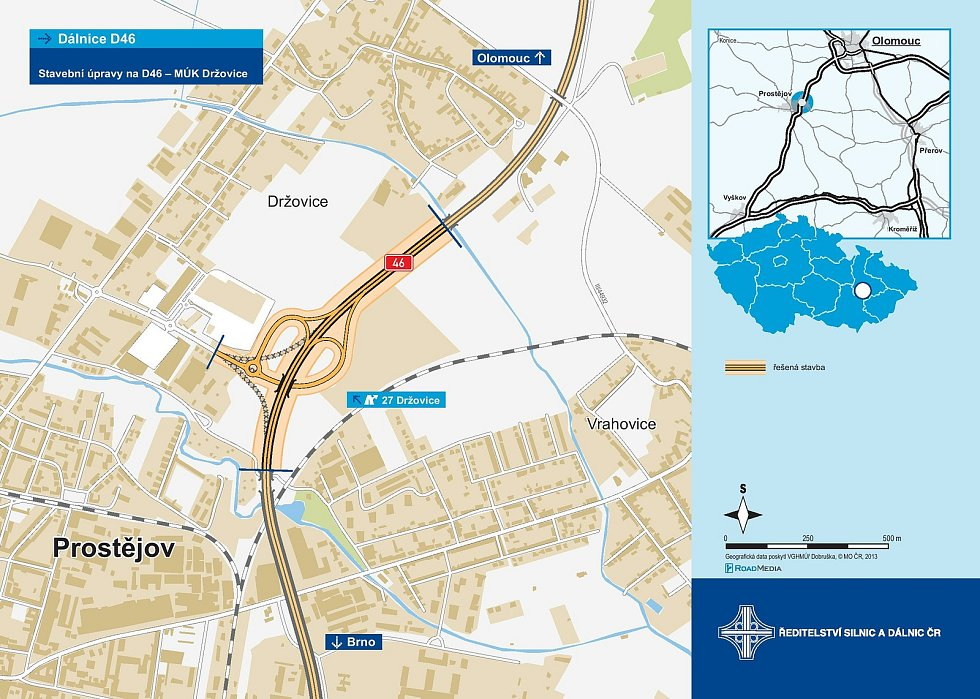 Mimoúrovňovou křižovatku na D46 u Držovic čeká rekonstrukce za více než 200 milionů