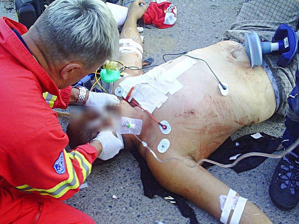 Olomoucký lékař Milan Brázdil při zásahu u zraněného muže
