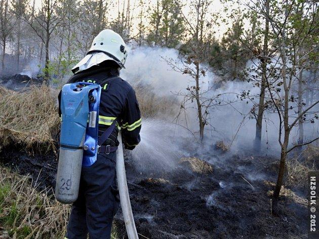 Požár lesa v Přemyslovicích - neděle 29.4.2012
