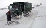 Sněhová kalamita na Protivanovsku. Na snímku silnice číslo 150 mezi obcemi Protivanov a Žďárná, směr od Boskovic.