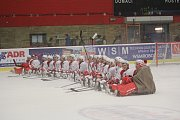 WSM liga, 16. kolo: LHK Jestřábi Prostějov (v červeném) proti HC Slavia Praha
