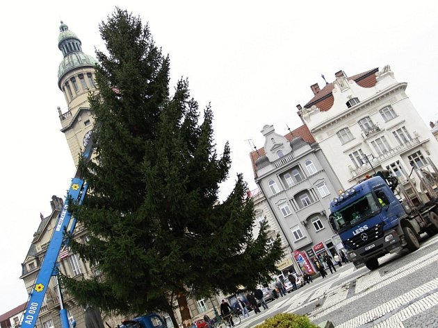Instalace vánočního stromu v Prostějově