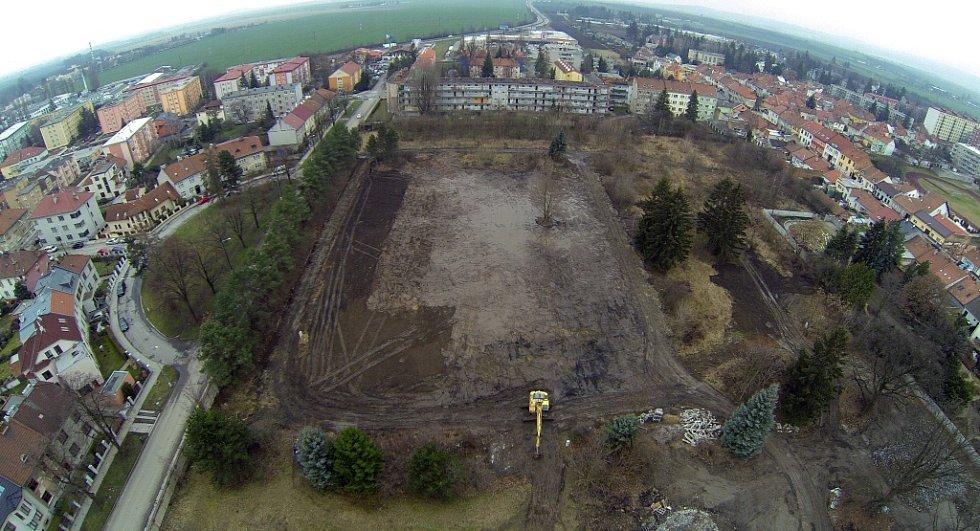 Jezdecká kasárna v Prostějově po zbourání