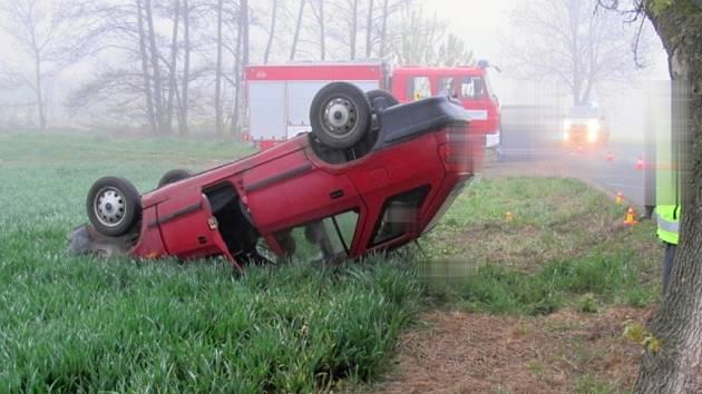 Dopravní nehoda mezi Mořicemi a Němčicemi nad Hanou