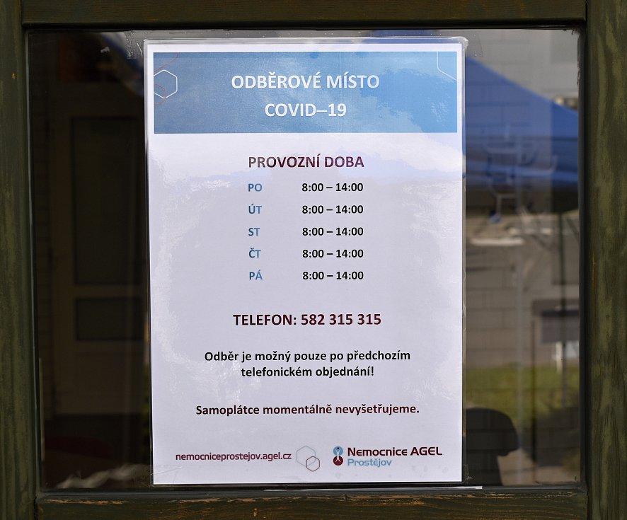 Odběrné místo na testy Covid-19 u prostějovské nemocnice