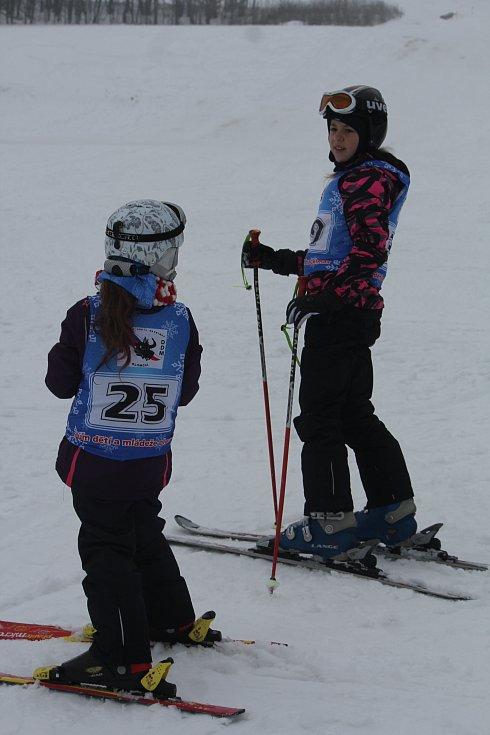 Ve skiareálu Kladky se v sobotu uskutečnil další ročník Kladecké lyže. Nejmladšímu závodníkovi nebyly ještě ani tři roky. Foto: Deník/Michal Sobecký