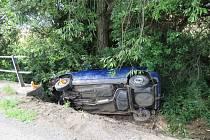 Řidičce ve Vícově vběhla do cesty kočka. Řidička strhla vozidlo a narazila přední částí auta do betonového mostku.
