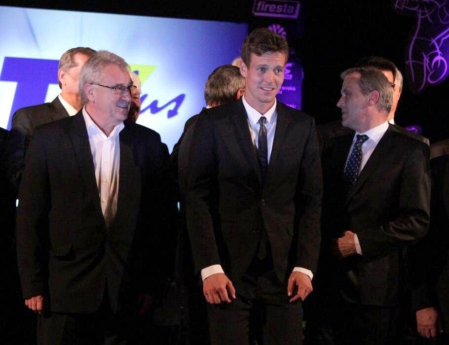 Předávání cen Sportovec Olomouckého kraje 2012: Petr Uličný, Tomáš Berdych a hejtman Jiří Rozbořil