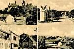 Druhá polovina 40. let. Nahoře: kostel svatého Petra a Pavla, vedle náves s kapličkou Jana Nepomuckého, dole: sokolovna, vedle ní stojí škola, samostatný dům je fara. Vedle pohled na obec.