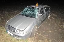 Nehoda octavie mezi Měrovice nad Hanou a Dlouhou Vsí.