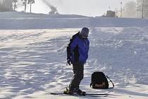 Oteplení se na sněhu v Kladkách nijak zvlášť neprojevilo.