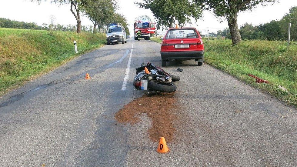 Nehoda motorkáře u Konice, 19. září 2020