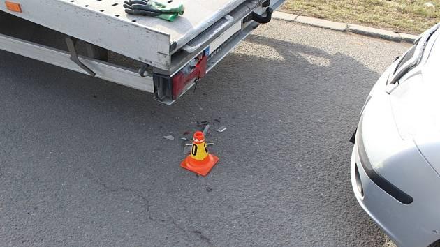 Následky nehody v Brněnské ulici v Prostějově