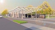 Vizualizace autobusového terminálu na Floriánském náměstí v Prostějově