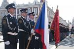 Slavnostní slib nových hasičů a předávání ocenění zkušeným na náměstí T. G. M. v Prostějově