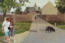 Vizualizace subcentra s novým parkem a domy ve Vrahovicích