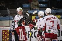 Jestřábi (v bílém) porazili ve skupině o předkolo play-off Sokolov 6:2.