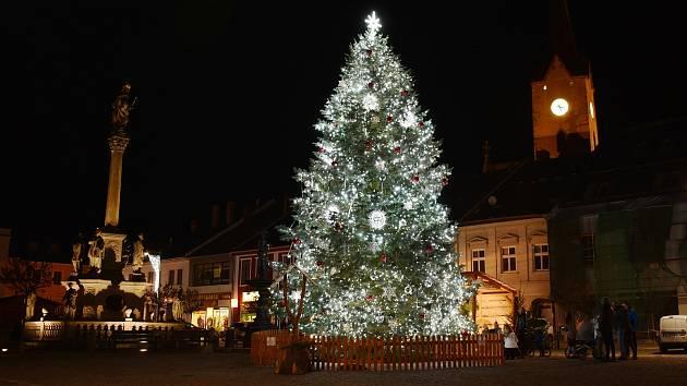 Vánoční strom 2020 na náměstí Svobody v Mohelnici. Jde o jedli, kterou daroval městu pan Miroslav Smolka z obce Klopina
