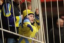 Zubří fanoušek při prvním finálovém utkání v Prostějově