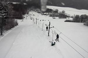 Na sjezdovce v Kladkách - foto z webkamery 9. ledna 2019