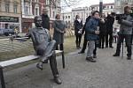 Odhalení sochy Jiřího Wolkera v Prostějově