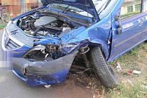 Srážka dvou aut v Brněnské ulici v Prostějově