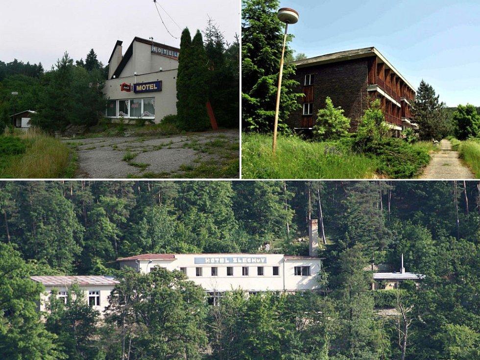 Bývalé velké rekreační objekty na Prostějovsku - chata Čubernice (vlevo nahoře), hotel Upolín (vpravo nahoře), hotel Zlechov (dole)