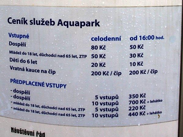Prostějovský aquapark - ceník 2013