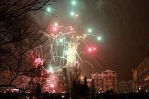 Silvestrovský večerní ohňostroj v Prostějově