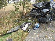 Řidič naboural mezi Ohrozimí a Vícovem do stromu