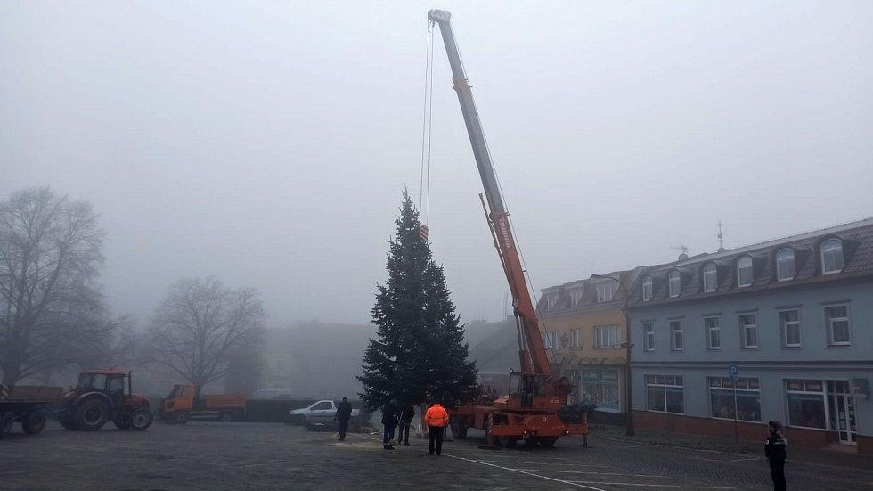 Instalace vánočního stromu 2020 na náměstí v Konici