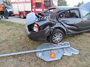 Nehoda vlaku a osobního auta v Kostelci na Hané