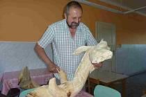 Starosta Olšan na Šumpersku Josef Dokoupil prohlíží rozlomenou plastiku draka, kterou někdo při setkání řezbářů 3. července ukradl a o čtyři dny později potajmu vrátil