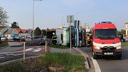 Úterní nehoda náklaďáku na Dolní ulici v Prostějově