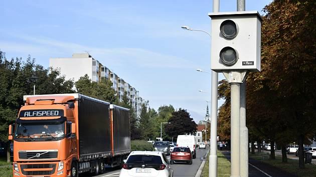 Prostějovské řidiče hlídají od začátku září tři měřící zařízení. Instalovány jsou v Brněnské, Dolní a Olomoucké ulici. Měřič v ulici Dolní.  22.9. 2021
